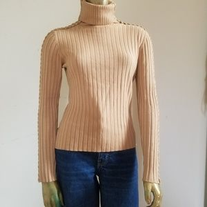 Sweaters - Laced Leather Tan Turtleneck